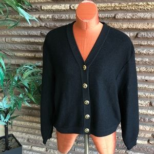 St. John Sweaters - St. John Basic Black V Neck Cardigan Sweater